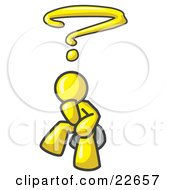 Clipart Illustration Of A Confused Yellow Business Man With A Questionmark Over His Head by Leo Blanchette