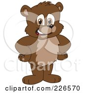 Royalty Free RF Clipart Illustration Of A Bear Cub School Mascot Standing With His Hands On His Hips