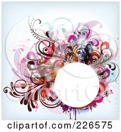 Royalty Free RF Clipart Illustration Of A White Circle Frame Bordered With Colorful Foliage