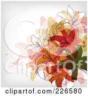 Background Of Lilies Over Colorful Splatters