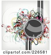 Royalty Free RF Clipart Illustration Of A Gray Circle Frame Bordered With Lines Colorful Splatters And Foliage