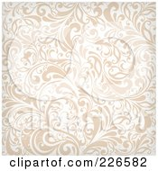 Royalty Free RF Clipart Illustration Of A Beige And White Background Pattern Of Flourishes