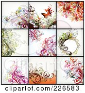 Royalty Free RF Clipart Illustration Of A Digital Collage Of Nine Floral Backgrounds 2