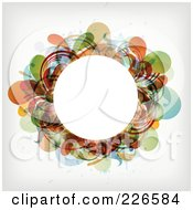 Royalty Free RF Clipart Illustration Of A White Circle Frame Bordered With Colorful Splatters And Foliage