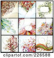 Royalty Free RF Clipart Illustration Of A Digital Collage Of Nine Floral Backgrounds 1