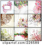 Royalty Free RF Clipart Illustration Of A Digital Collage Of Nine Floral Backgrounds 3