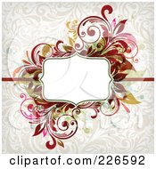 Royalty Free RF Clipart Illustration Of A White Text Space Bordered By Ornate Flourishes On A Beige Floral Background