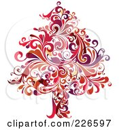 Royalty Free RF Clipart Illustration Of A Red Christmas Tree Of Red Flourishes 2 by OnFocusMedia
