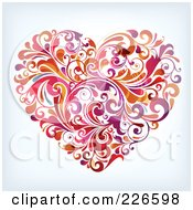 Royalty Free RF Clipart Illustration Of A Heart Made Of Flourishes by OnFocusMedia