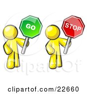 Clipart Illustration Of Yellow Men Holding Red And Green Stop And Go Signs