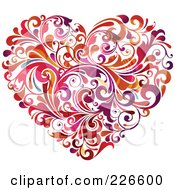 Royalty Free RF Clipart Illustration Of A Heart Made Of Red Orange And Purple Flourishes by OnFocusMedia