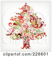 Royalty Free RF Clipart Illustration Of A Red And Green Christmas Tree Of Flourishes 1 by OnFocusMedia