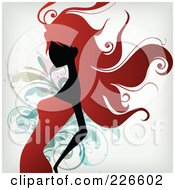 Royalty Free RF Clipart Illustration Of A Red Haired Woman In A Red Dress Over Splatters And Foliage by OnFocusMedia #COLLC226602-0049