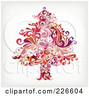 Royalty Free RF Clipart Illustration Of A Red Christmas Tree Of Red Flourishes 1 by OnFocusMedia