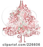 Royalty Free RF Clipart Illustration Of A Red And Green Christmas Tree With Swirl Flourishes 2 by OnFocusMedia