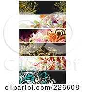 Digital Collage Of Six Floral Grunge Borders