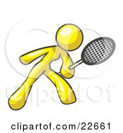 Clipart Illustration Of A Yellow Woman Preparing To Hit A Tennis Ball With A Racquet