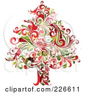 Royalty Free RF Clipart Illustration Of A Red And Green Christmas Tree Of Flourishes 2 by OnFocusMedia