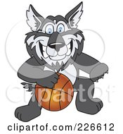 Royalty Free RF Clipart Illustration Of A Husky School Mascot Playing Basketball