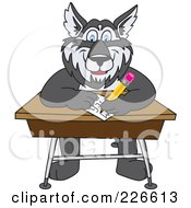 Husky School Mascot Writing On A School Desk