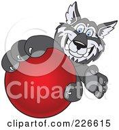Husky School Mascot Grabbing A Red Ball