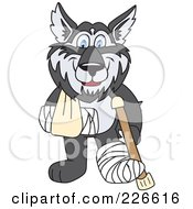 Husky School Mascot With A Sling Cast And Crutch