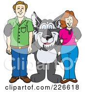 Royalty Free RF Clipart Illustration Of A Husky School Mascot With Parents