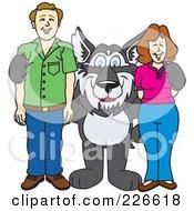 Husky School Mascot With Parents