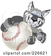 Royalty Free RF Clipart Illustration Of A Husky School Mascot Grabbing A Baseball