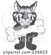 Royalty Free RF Clipart Illustration Of A Husky School Mascot Holding A Bone by Toons4Biz