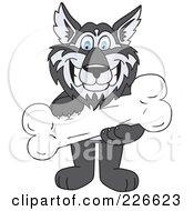 Husky School Mascot Holding A Bone