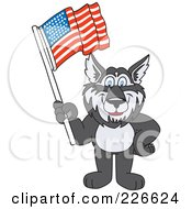 Royalty Free RF Clipart Illustration Of A Husky School Mascot Waving An American Flag