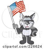 Husky School Mascot Waving An American Flag