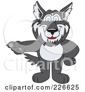 Husky School Mascot Pointing Left