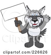 Royalty Free RF Clipart Illustration Of A Husky School Mascot Holding A Blank Sign