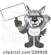 Husky School Mascot Holding A Blank Sign