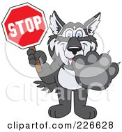 Royalty Free RF Clipart Illustration Of A Husky School Mascot Holding A Stop Sign
