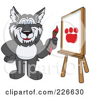 Royalty Free RF Clipart Illustration Of A Husky School Mascot Painting A Paw Print