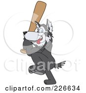 Husky School Mascot Playing Baseball