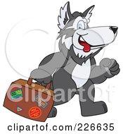 Husky School Mascot Carrying Luggage