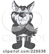 Royalty Free RF Clipart Illustration Of A Husky School Mascot Standing With His Arms Crossed