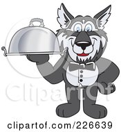 Royalty Free RF Clipart Illustration Of A Husky School Mascot Waiter Carrying A Platter
