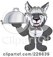 Husky School Mascot Waiter Carrying A Platter
