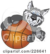 Royalty Free RF Clipart Illustration Of A Husky School Mascot Grabbing A Basketball