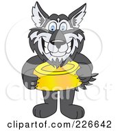 Royalty Free RF Clipart Illustration Of A Husky School Mascot Holding A Food Bowl by Toons4Biz