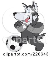 Royalty Free RF Clipart Illustration Of A Husky School Mascot Playing Soccer