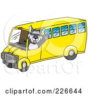 Royalty Free RF Clipart Illustration Of A Husky School Mascot Waving And Driving A School Bus