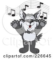 Royalty Free RF Clipart Illustration Of A Husky School Mascot Singing