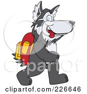 Royalty Free RF Clipart Illustration Of A Husky School Mascot Walking To School