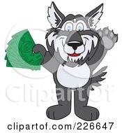 Royalty Free RF Clipart Illustration Of A Husky School Mascot Holding Cash by Toons4Biz